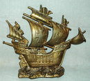 Antique Spanish Galleon Ship  Brass Door Stop