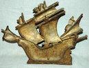 Antique Spanish Galleon Ship  Brass Door Stop