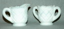 Opalescent Milk Glass Creamer and Sugar Bowl