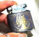 Elks  B.P.O.E. Vintage Lighter blue and gold
