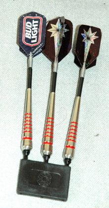 Set of 3 darts one is a Budweiser  Bud Light  Dart  in velvet lined box