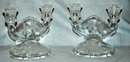 Pair of Etched Jeanet  Glass Dual Candlesticks
