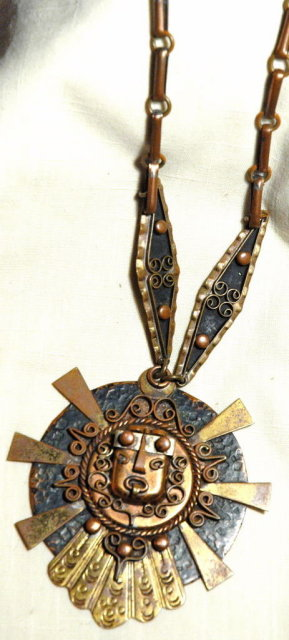 Large  Mexican Copper Medallion Indian Deity Mask Face