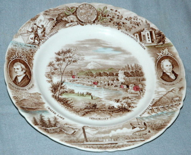 SOUVENIR PLATE Brown with Color Tint Transfereware Oregon   * PRICE REDUCTION !!  PRICE REDUCED !