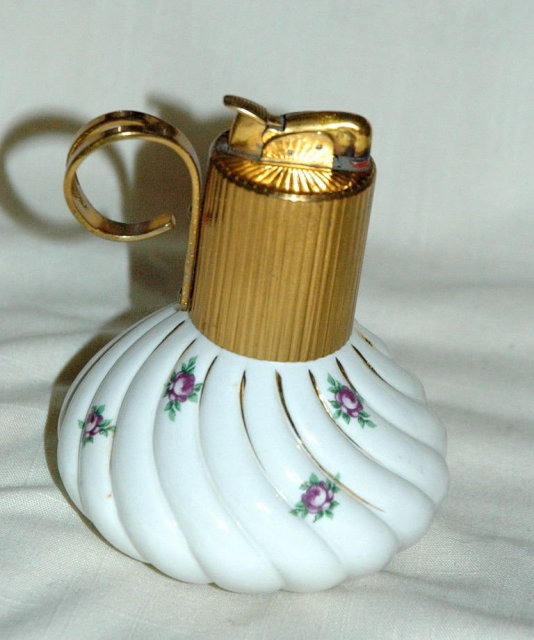 Porcelain Lighter by Evans with Dainty Flowers
