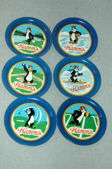 6 Hamm's Beer Bear Metal Coasters 1981 Olympia Brewing Company Tumwater Washington