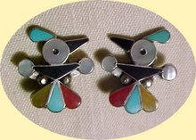 Fred Harvey Era  Sterling T- Bird  Earrings