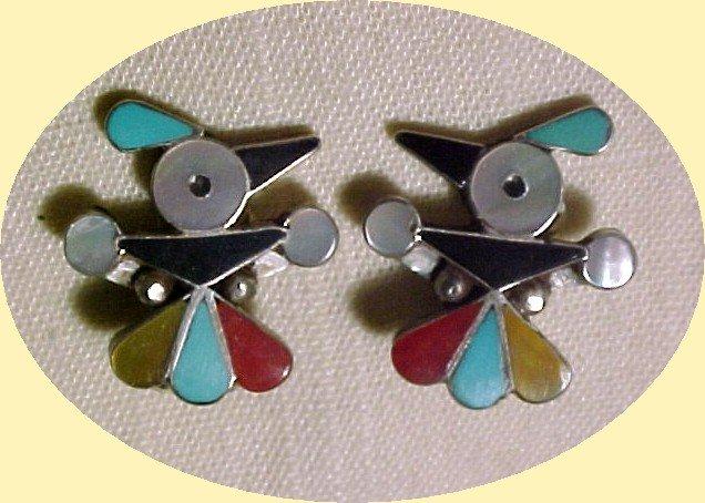 Fred Harvey Era  Sterling T- Bird  Earrings