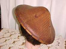 Vintage Chinese Cooley Hat of Woven  Bamboo