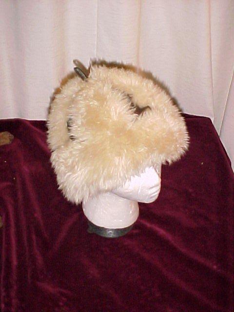 Vintage Italian Sheepskin / Shearling  Leather  Hat