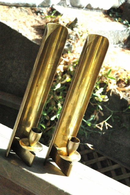 Pair Brass Wall Sconce Candle Holders -Denmark