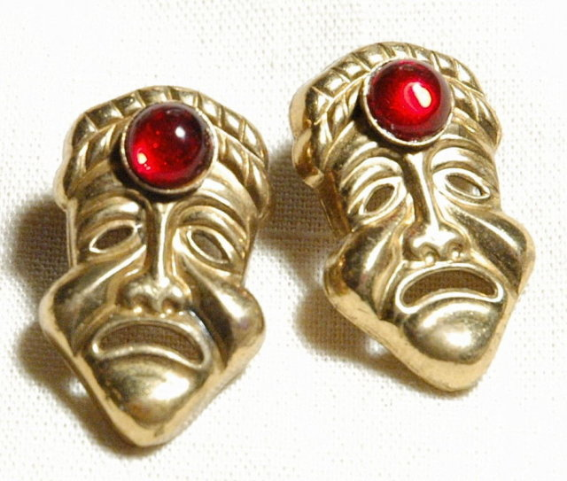 Bizarre Brass Jeweled Sad Face Mask Earrings