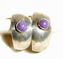 Sterling Silver Sugilite CAB  Fat Hoop Earrings