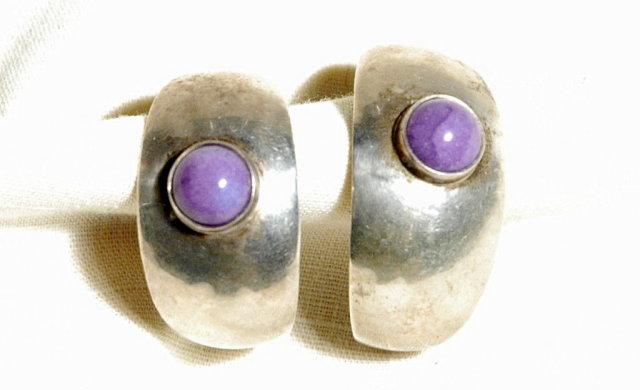 Sterling Silver Sugilite CAB  Fat Hoop Earrings