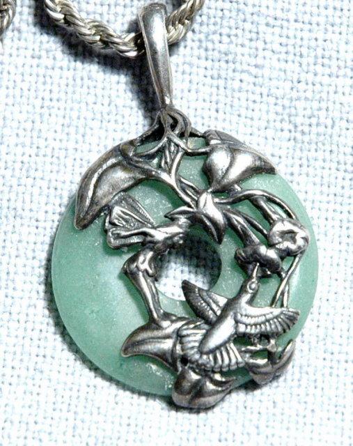 Jade & Sterling Fairy/ Hummingbird Pendant