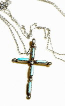 Old Native American Sterling Silver Turquoise Cross Pendent Necklace