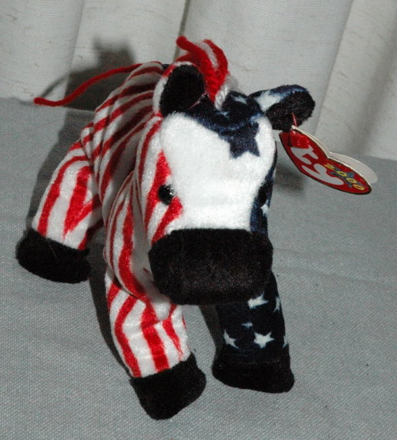 Democratic  Lefty 2000 Stars and Stripes Beanie Baby Donkey