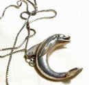 Huge Sterling Dolphin 3d Pendant on ster.Chain