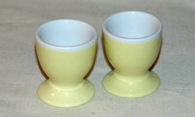 2 Yellow & White Procelain Austrain  Eggs Cups