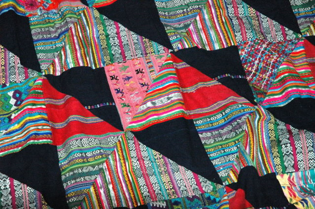 Guatamalan Patchwork Quilt of Old Mayan Huipils