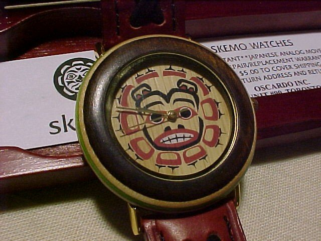 Alaskan Native American Theme Skemo Watch New In Wooden Box Bear Mask
