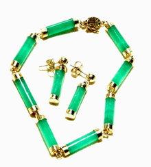 14K Gold & Chrysoprase Bracelet & Earrings set