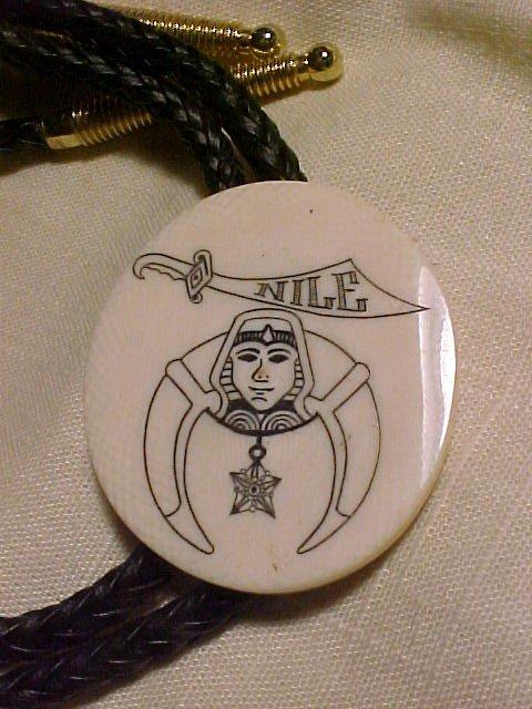 Ivory  Srimshaw Masonic Nile Bolo Tie