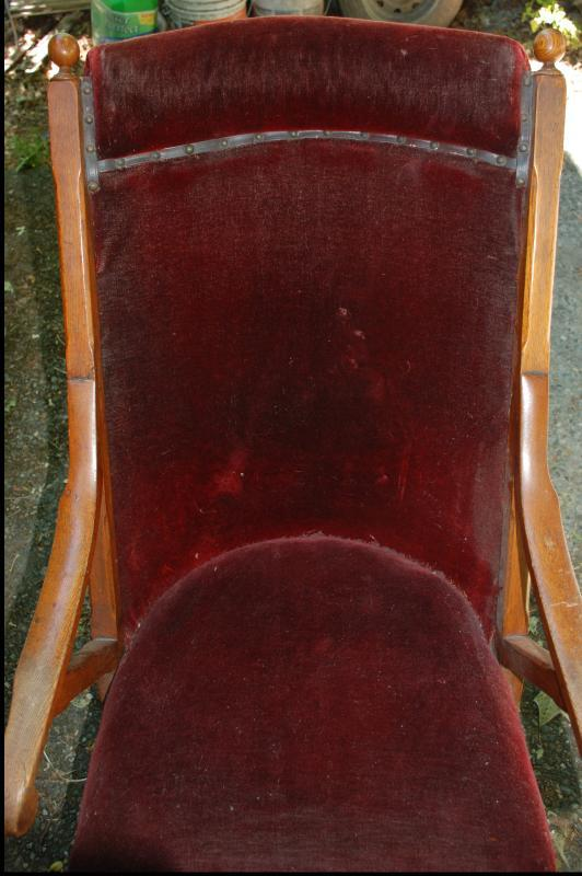 Antique Sling Back Oak Rocking Chair with Original Red Velvet Upholstery