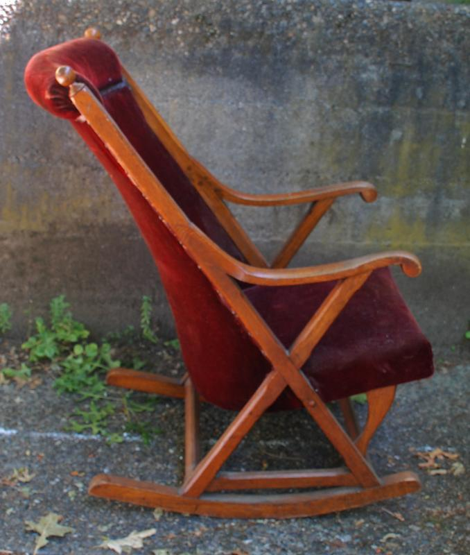 Antique  Oak Rocking Chair with Original Red Velvet Upholstery