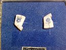 Alaska Native Walrus Ivory Scrimshaw Post Earrings