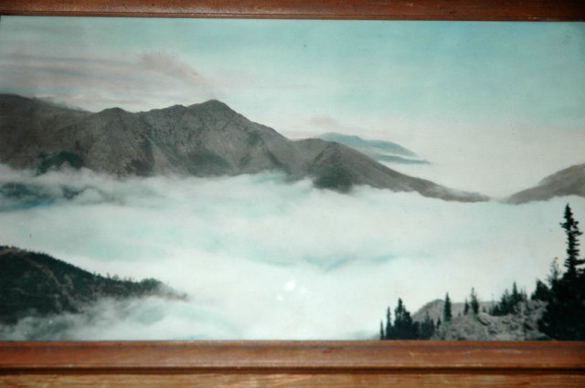 Vintage HandTinted Photograph of Mountains  Hand Tinted Photograph of Mountains in the Mist * PRICE REDUCED!*