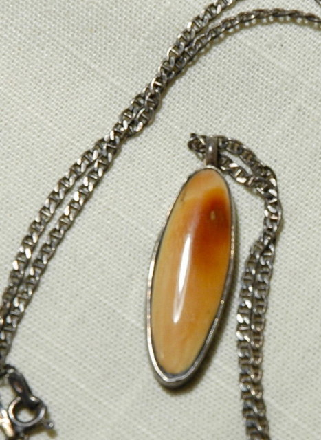 Native Alaskan Fossil Ivory Sterling Pendant Chain