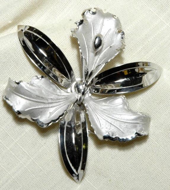Huge Sterling Silver Orchid Brooch