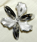 Huge Sterling Silver Orchid Brooch
