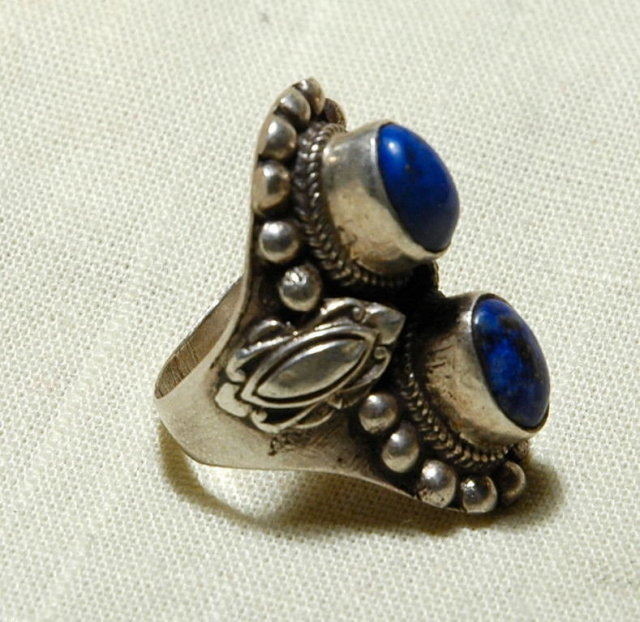 Navajo Sterling Silver Double Lapis Lazuli Ring sz 7 1/4