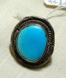 Navajo Sterling Silver & Large Turquoise  Ring sz 5.5