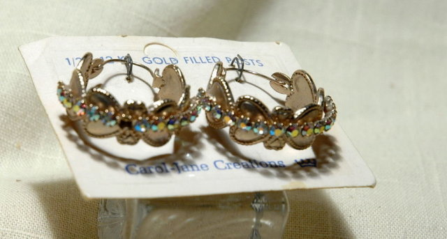 Silver & Aurora B. Stones Heart  Hoop Earrings Carol-Jane Creations