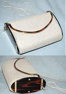 White enamel mesh purse w/vint marbled Plastic