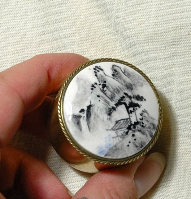 Round Brass Trinket Box Porcelain top with Guilin Landscape