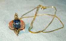 Ornate Glass  Bead & Sterling Vermeil Necklace