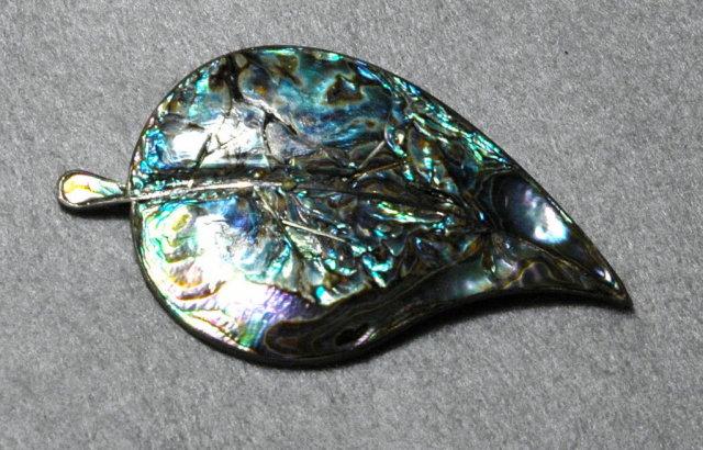 Emma Melendez Abalone Sterling Leaf Brooch