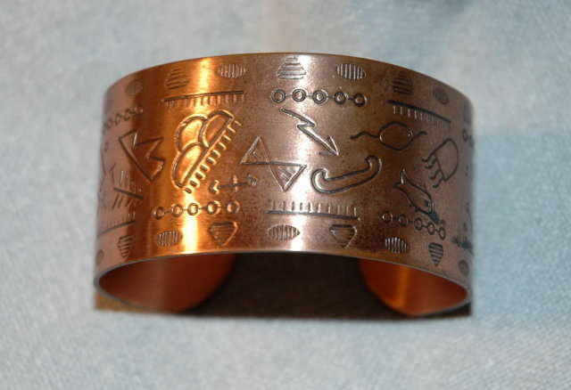 Native American Crafted Copper Cuff Bracelet with Petroglyphs Design