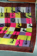 Chess Theme  Shear Silk Scarf with hand rolled hem