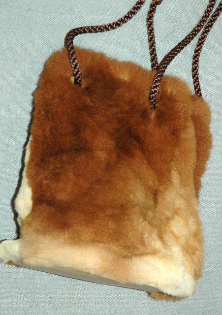 Genuine Fur Draw string Pouch Purse   Bag