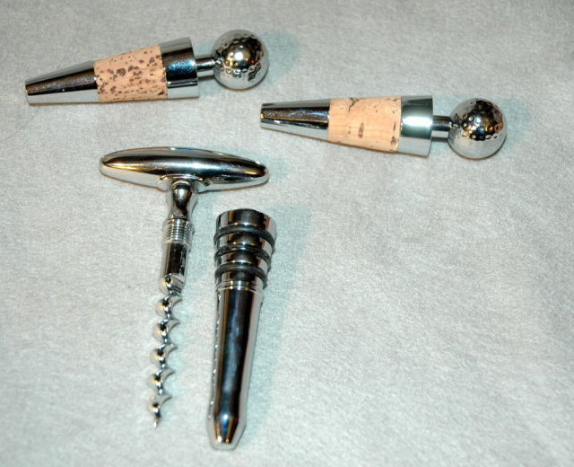 Golf Theme 2 Bottle Stoppers and Cork Screw* Price Reduction*