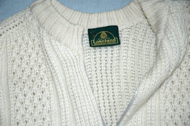 IRISH FISHERMAN ARAN KNIT SWEATER  by Lakeland 100% Pure New Wool Zip up Cardigan