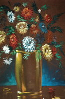 Flowers Painting Oil on Velvet Paper Veillers   PRICE REDUCTION!**