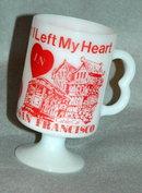 Vintage I left my Heart in San Francisco Pedestal Coffee Mug, white glass