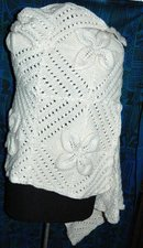 Wool  Crochet  Shawl or Lap Throw hand made