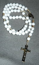Vintage White Plastic Hand  Beaded & Knotted  Rosary Beads with sliver cross